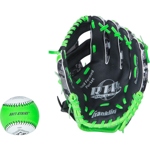 "Franklin Sports 9.5"" PVC Baseball Glove with Ball"