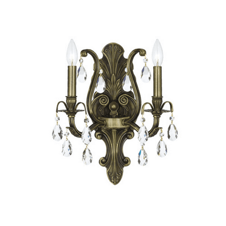 Wall Sconces 2 Light With Antique Brass Clear Swarovski Strass Crystal Brass Candelabra 13 inch 120 Watts - World of Lighting