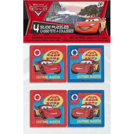 Disney Cars Slide Puzzle Party Favors, 4ct