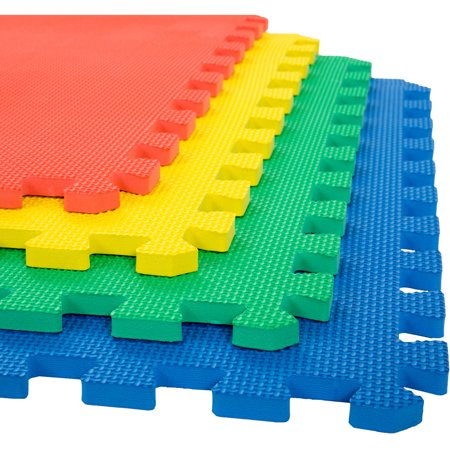 Edu Tile Foam (Foam Mat Floor Tiles, Interlocking EVA Foam Padding by Stalwart – Soft Flooring for Exercising, Yoga, Camping, Kids, Babies, Playroom – 4 Pack)