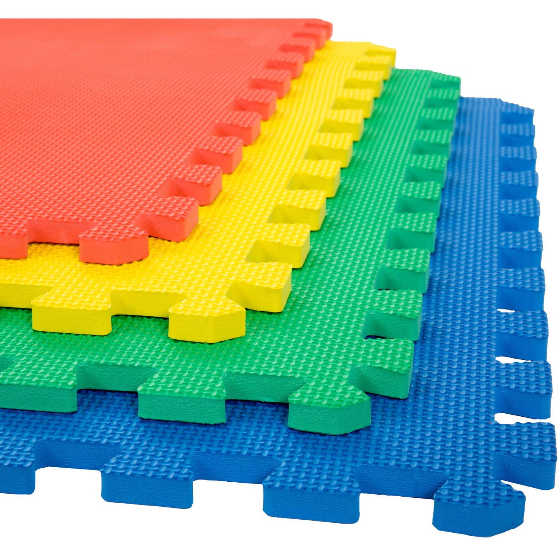 Foam Mat Floor Tiles, Interlocking EVA Foam Padding by Stalwart – Soft Flooring for Exercising, Yoga, Camping, Kids, Babies, Playroom – 4 Pack
