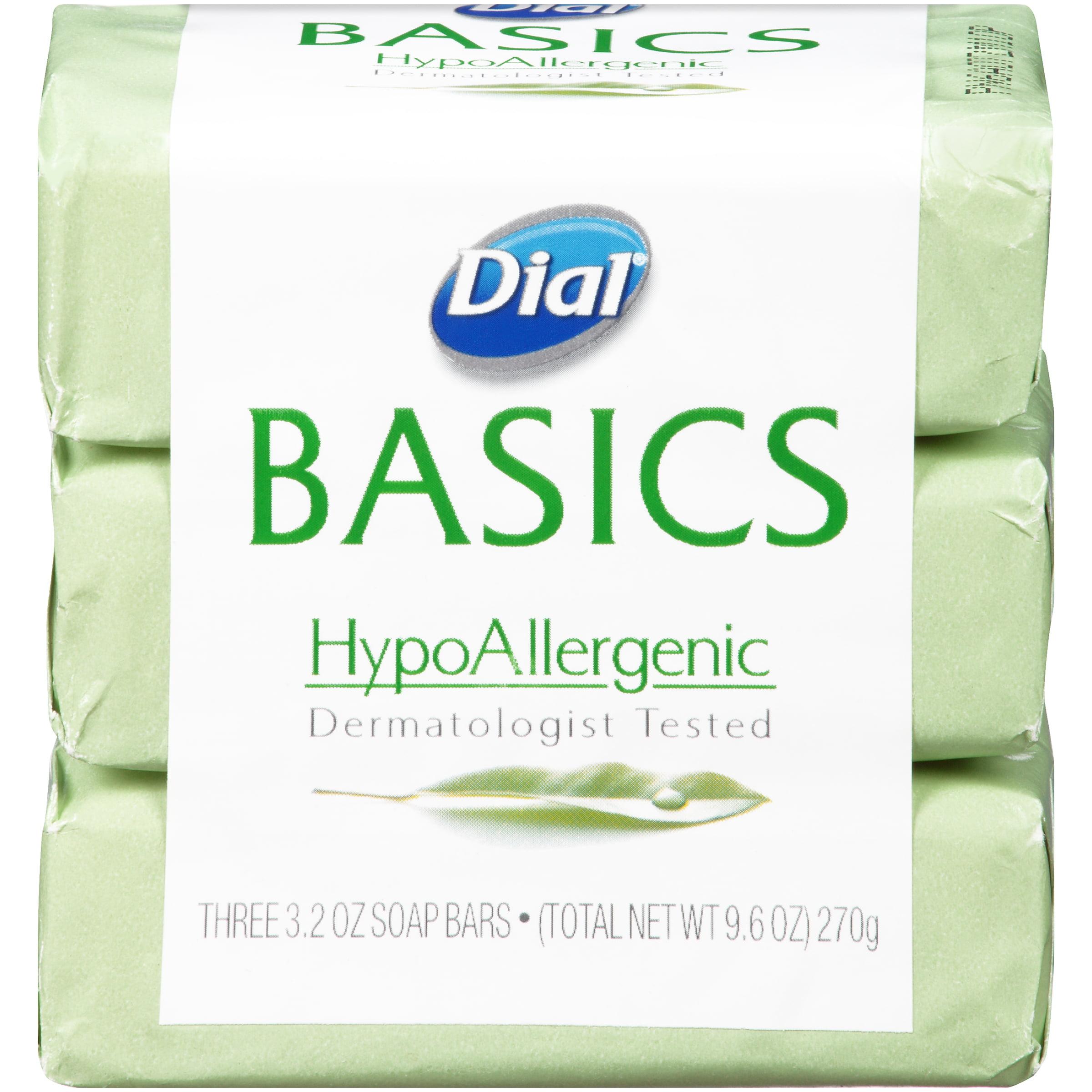 Dial Basics HypoAllergenic Bar Soap, 3.2 Ounce Bars, 3 Count