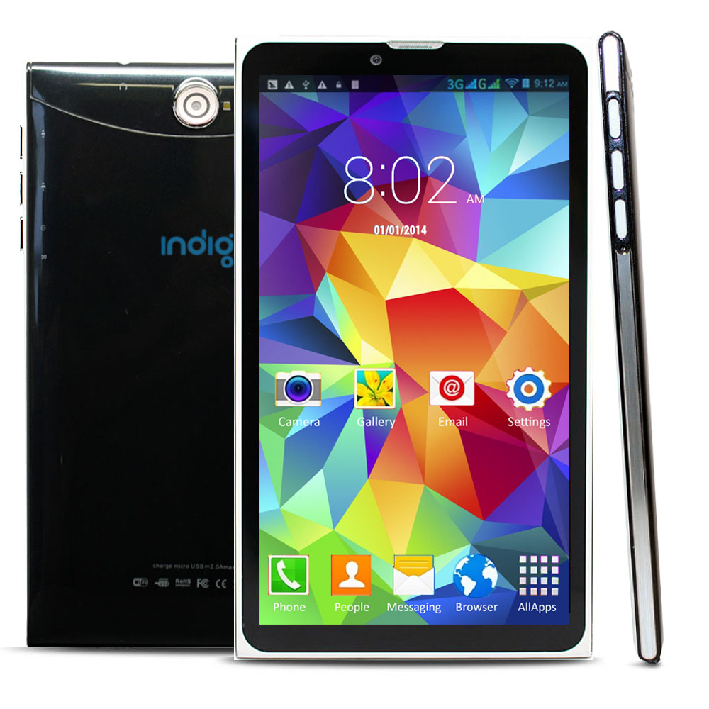 "Indigi® 7.0"" Unlocked 3G Smart Cell Phone 2-in-1 Phablet Android 4.4 Tablet PC AT&T / T-Mobile (Black)"