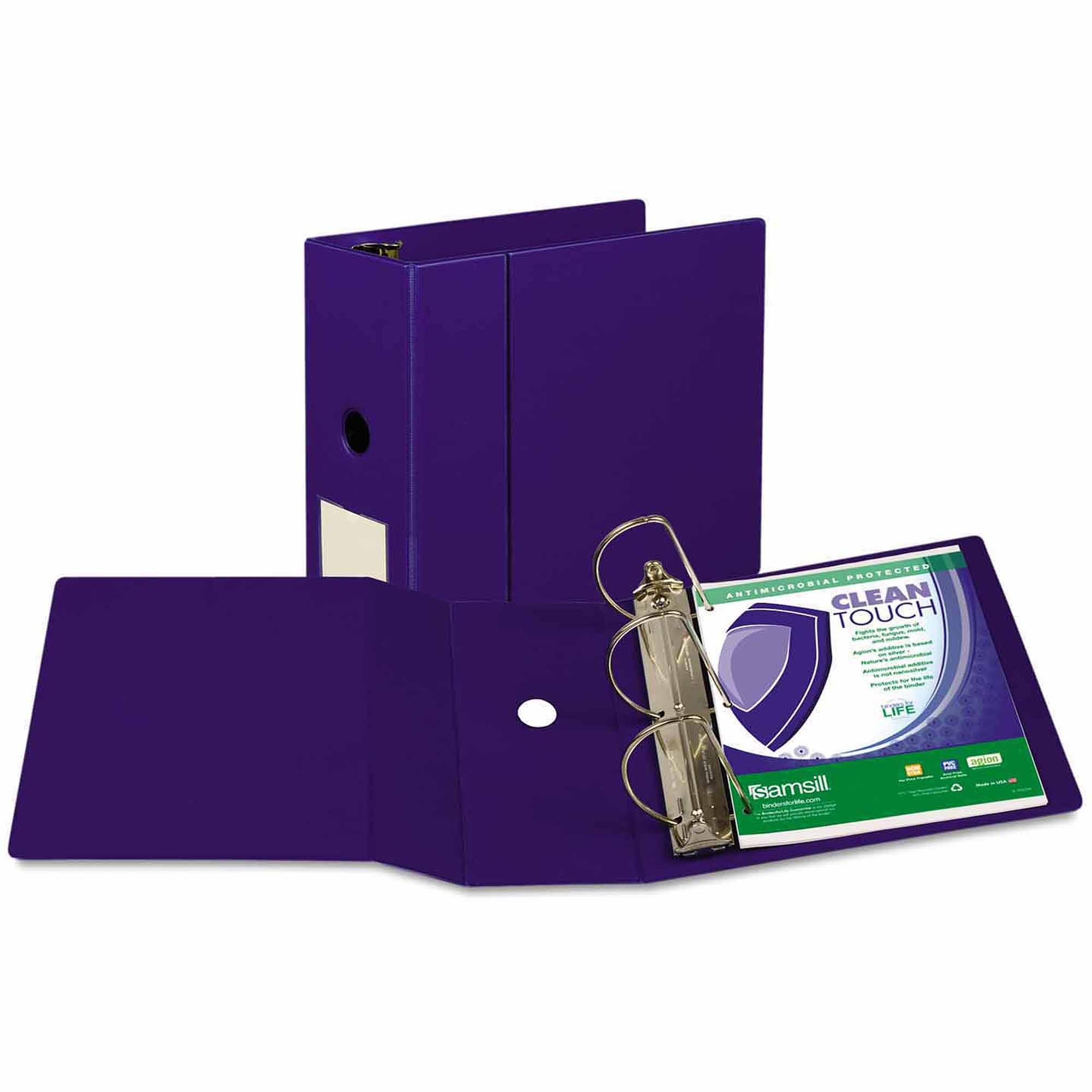 "Samsill Clean Touch Antimicrobial Locking D-Ring Binder, 11 x 8-1/2, 5"" Cap, Dark Blue"
