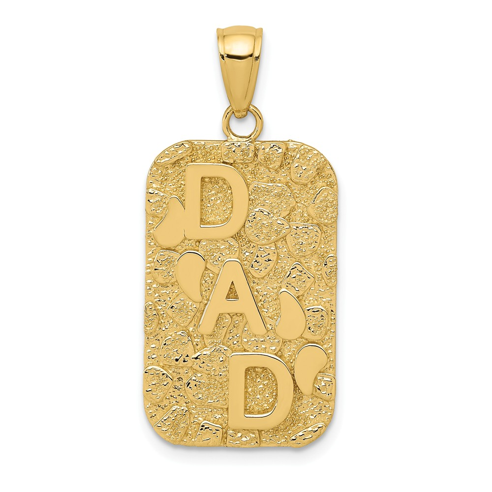 14k Yellow Gold NUGGET DAD DOGTAG Charm Pendant