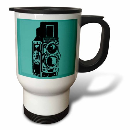 3dRose Picture of a Vintage Twin Lens reflex TLR camera on cyan, Travel Mug, 14oz, Stainless Steel
