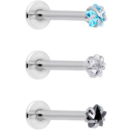 Body Candy Womens 16G 316L Steel Clear Blue Black Accent Star Labret Monroe Lip Ring Cartilage Tragus 3/8""