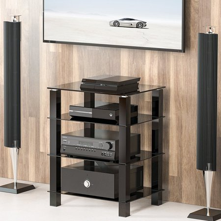 FITUEYES AV Shelf Media Component Stand Audio Cabinet with Glass Shelf AS406002GB