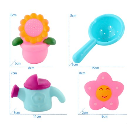 Baby Swimming Bathing Soft Vinyl Pinching Squeezing Cartoon Animal Toy Set Random Colors Delivery