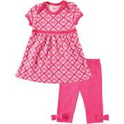 hudson baby baby-girls dress and legging set, pink, 0-3 months