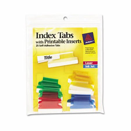 Avery Self Adhesive 1  Tabs With White Printable Inserts  25 Tabs  Ave16219