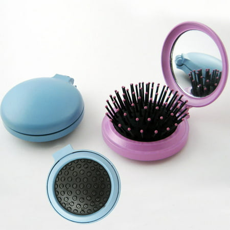 Travel Folding Hair Brush Mirror Pocket Purse Car Camping Compact 2.5