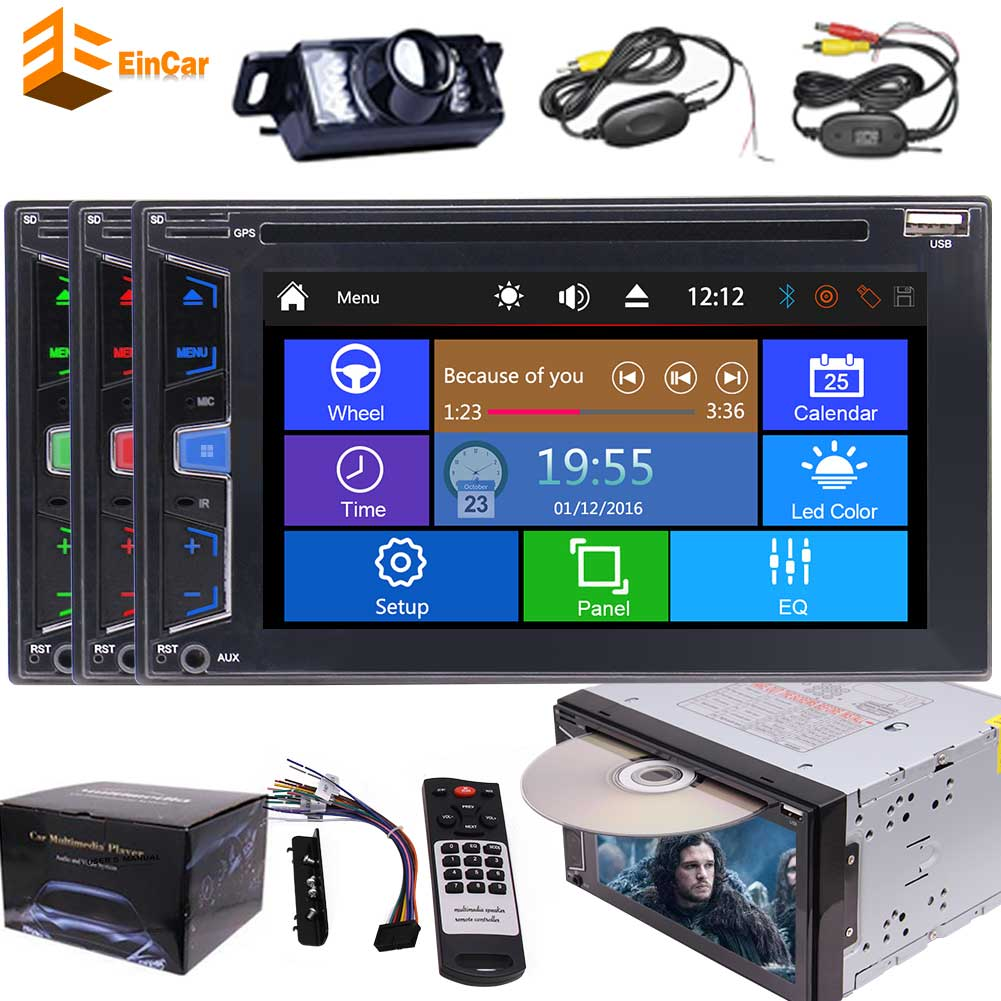 Two Din Car automotive Autoradio Stereo Headunit 6.2 Inch Multi-Touch Capacitive Screen DVD CD Player MP3 MP4 USB TF Card AM FM RDS Radio Steering Wheel Control Bluetooth AUX Subwoofer+Free Wirel