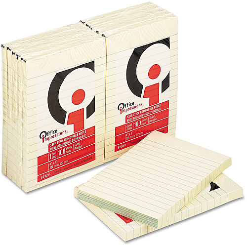 "Office Impressions 4"" x 6"" Lined Self-Stick Notes, 12pk, Yellow"