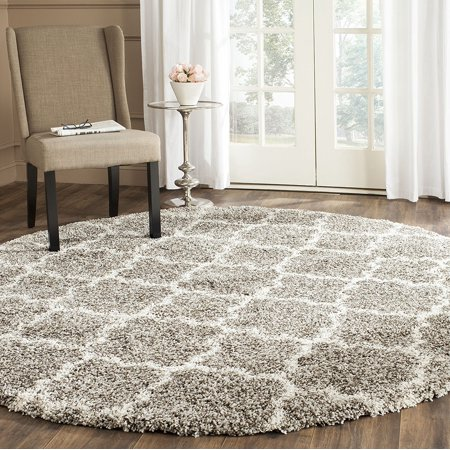 Safavieh Hudson Collection Sgh282b Grey And Ivory Round Area Rug 7 Feet In Diameter