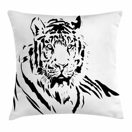 Tiger Throw Pillow Cushion Cover, Black Stripes of a Large Hunter Cat Nature Scenes Beautiful Sublime Beast Digital Artwork, Decorative Square Accent Pillow Case, 18 X 18 Inches, Black, by Ambesonne ()