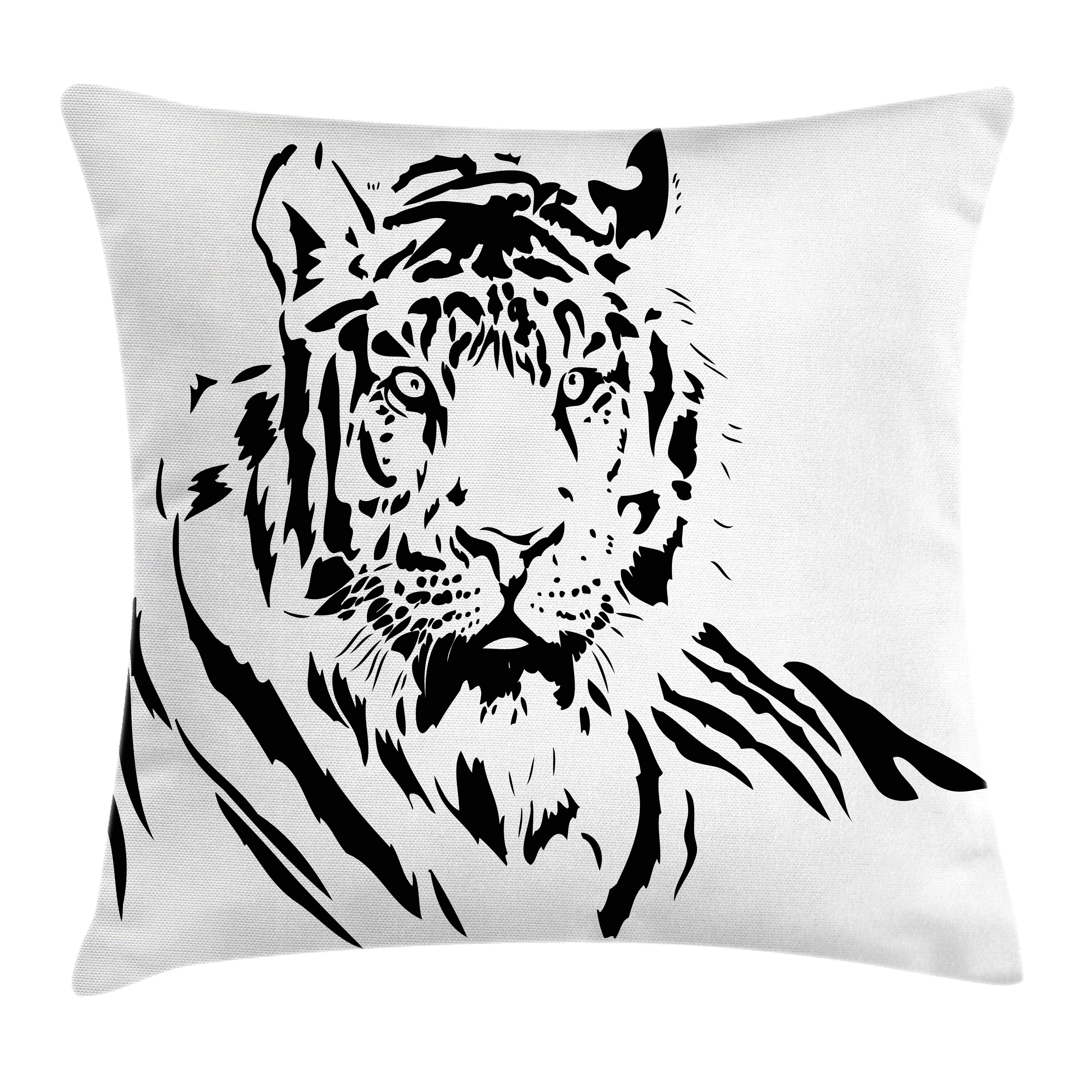 Tiger Throw Pillow Cushion Cover, Black Stripes of a Large Hunter Cat Nature Scenes Beautiful Sublime Beast Digital Artwork, Decorative Square Accent Pillow Case, 18 X 18 Inches, Black, by Ambesonne