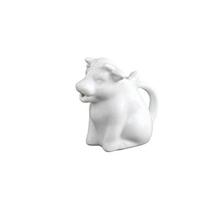 HIC Mini Cow Creamer Coffee Tea Milk Syrup Dressing Server with Handle, Fine White Porcelain, 2-Ounces