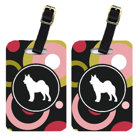 Pair of 2 Norwegian Elkhound Luggage Tags