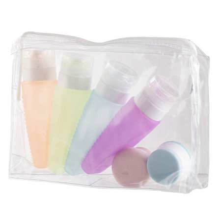 Travel Toiletries Containers Set - 6-Pack Portable Squeeze Bottles and Cream Jars with Clear Storage Bag, TSA Approved Refillable Multicolored Accessories, Easy Fill Silicone Toiletry Organizer