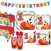 1st Birthday Elmo Party Kit for 16 Guests, with Table Decorating Kit and Banners