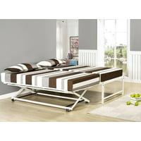 "Archer 17""H Platform Daybed Bed Frame With Pop-Up Trundle Set, Cream White Metal, Twin, (Headboard, Footboard, Rails & 13 Slats)"