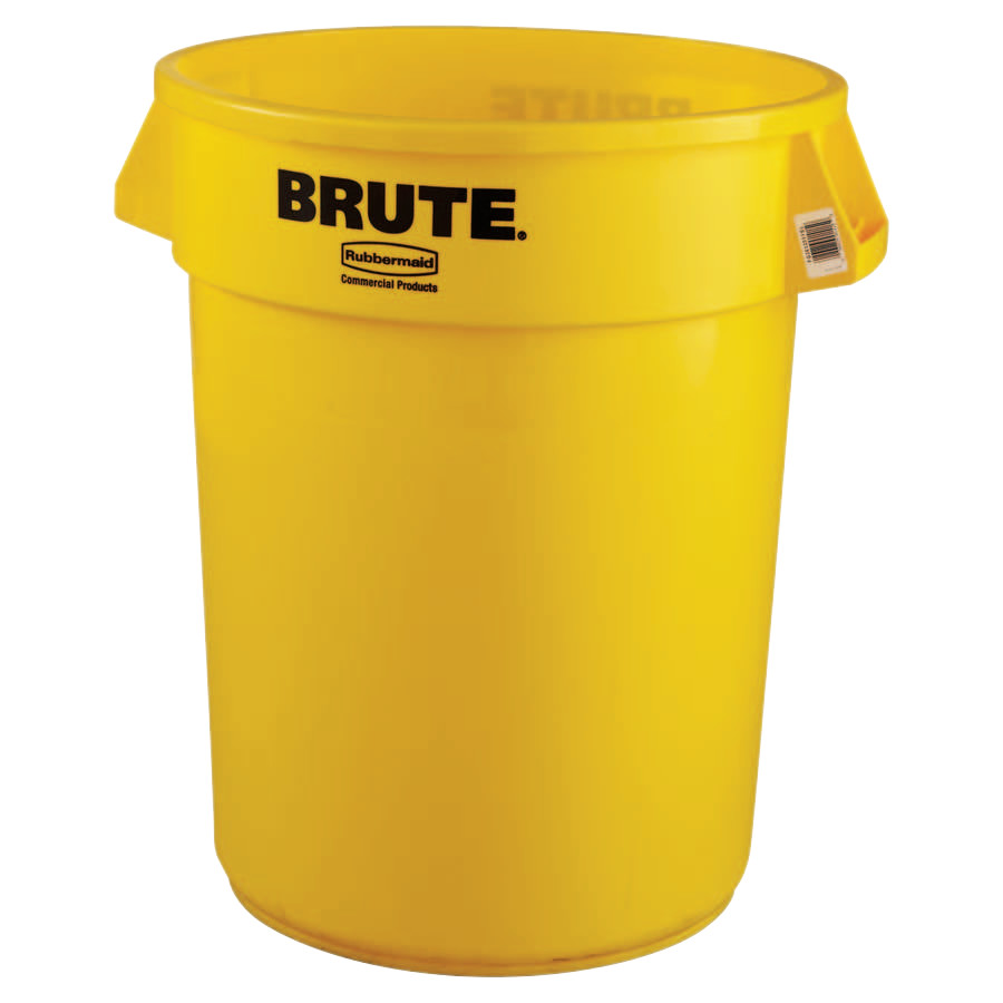 Rubbermaid Commercial Brute Round Containers, 32 gal, Plastic, Yellow