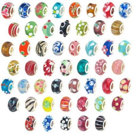 Bundle Monster Wholesale 500pc Lot Silver Lampwork Murano Glass European Mix. Fits Most Major Charm Bracelets.