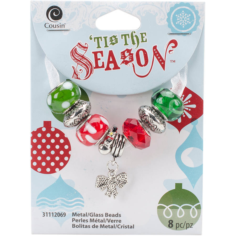Tis The Season Large Hole Beads, Red and Green Bow, 8pk
