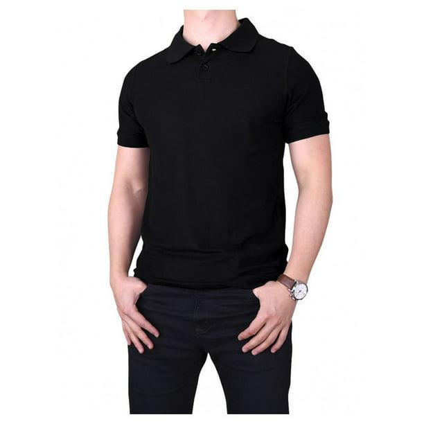 Mens 100% Cotton Classic Slim Style Plain Polo Shirts (Black, Large)