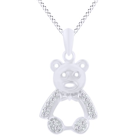Round Cut 0.1 Cttw White Natural Diamond Teddy Bear Pendant Necklace In 14K White Gold Over Sterling Silver Bear Diamond Pendant