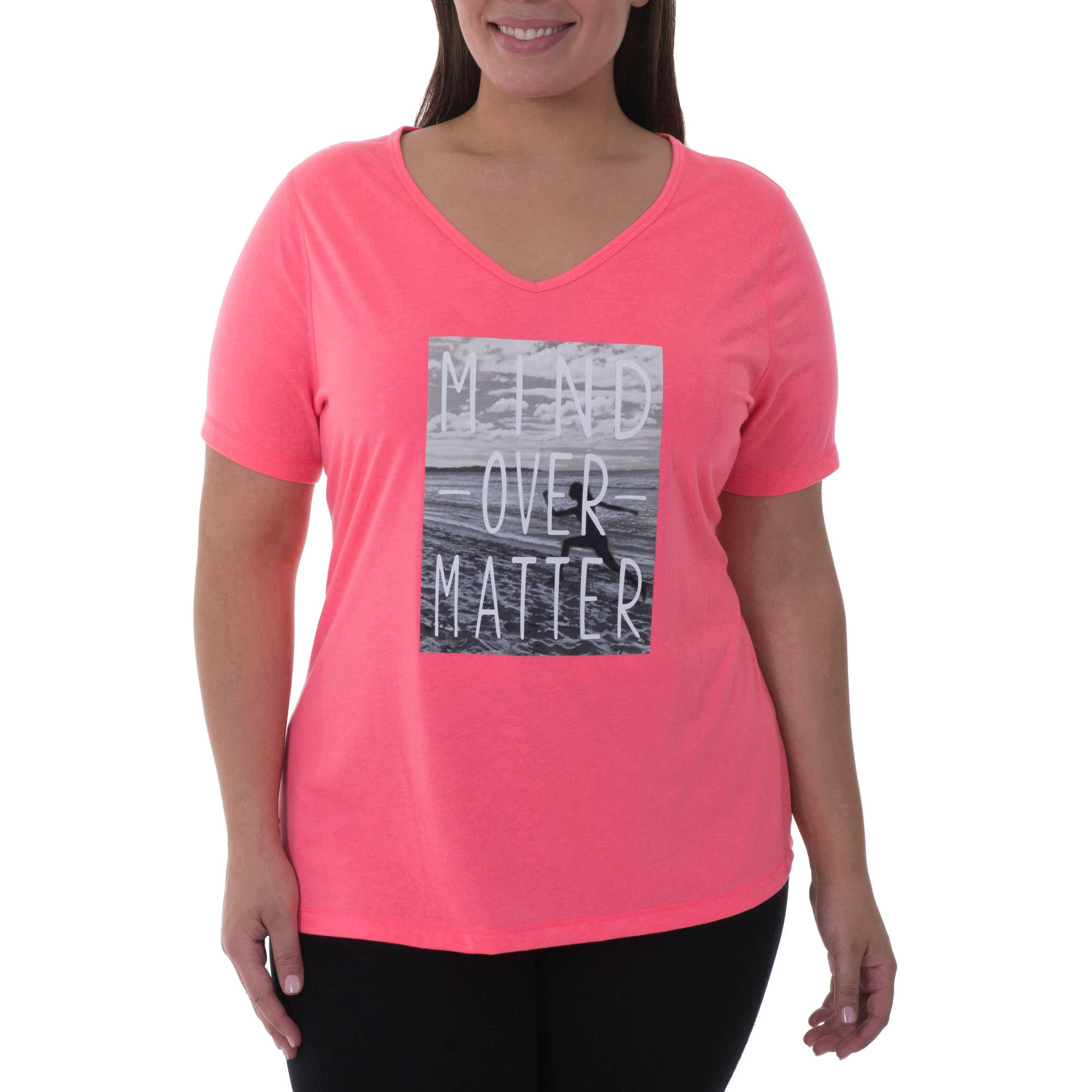 Danskin Now Women's Plus-Size Active Graphic Short Sleeve V-Neck Tee