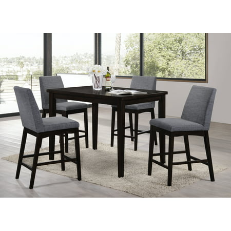 Home Source Domum Walnut Side Chairs with Tufted Seats, Set Pack of 2