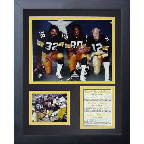 Legends Never Die Pittsburgh Steelers 70's Big 3 Kneeling Framed Memorabili