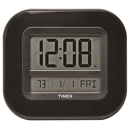 "AcuRite Timex 9"" Atomic Digital Time, Temp and Date Wall Clock"