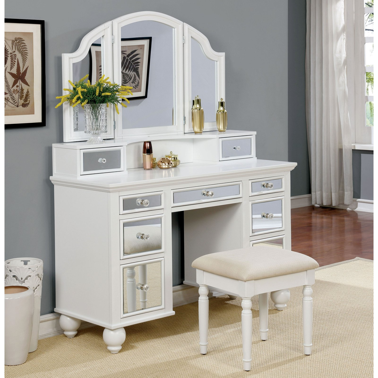 Furniture of America Aria Contemporary Style 3-Sided Mirror Vanity Set