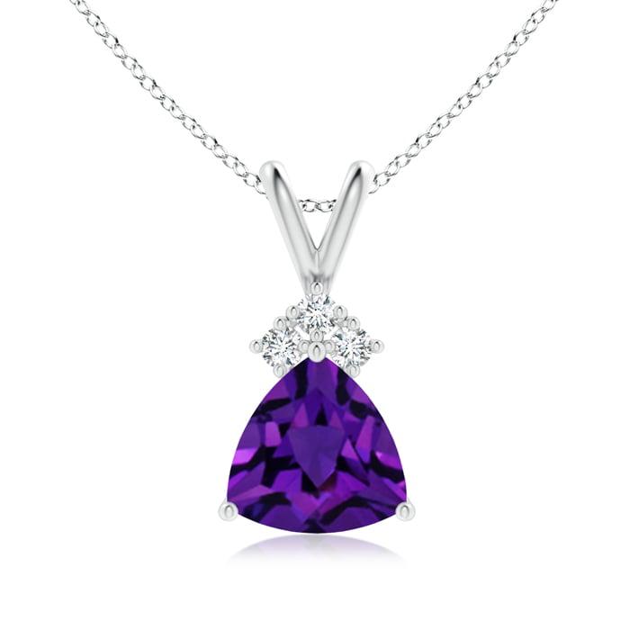 Angara Trillion Amethyst Solitaire Pendant with Trio Diamonds 0UbVhsz