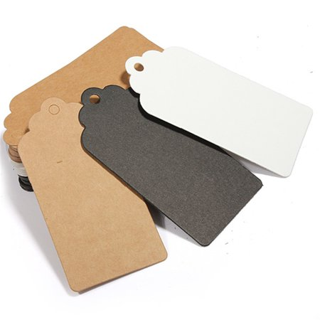 100pcs Kraft Paper Gift Tags Wedding Birthday Label Blank Luggage Card 9X4.cm ,Natural color