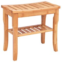 Costway Bamboo Shower Seat Bench Bathroom Spa Bath Organizer Stool with Storage Shelf