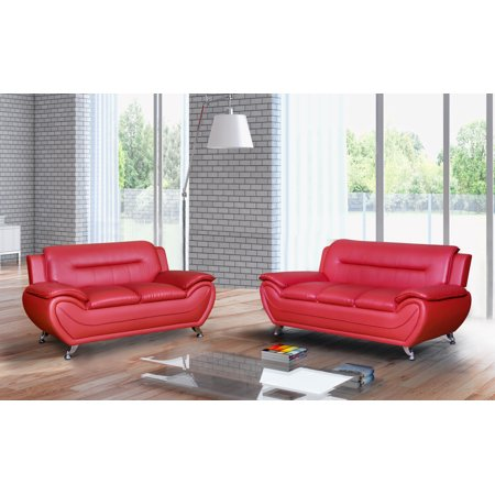 Tremendous Norton Red Faux Leather 2 Piece Modern Living Room Sofa And Loveseat Set Evergreenethics Interior Chair Design Evergreenethicsorg