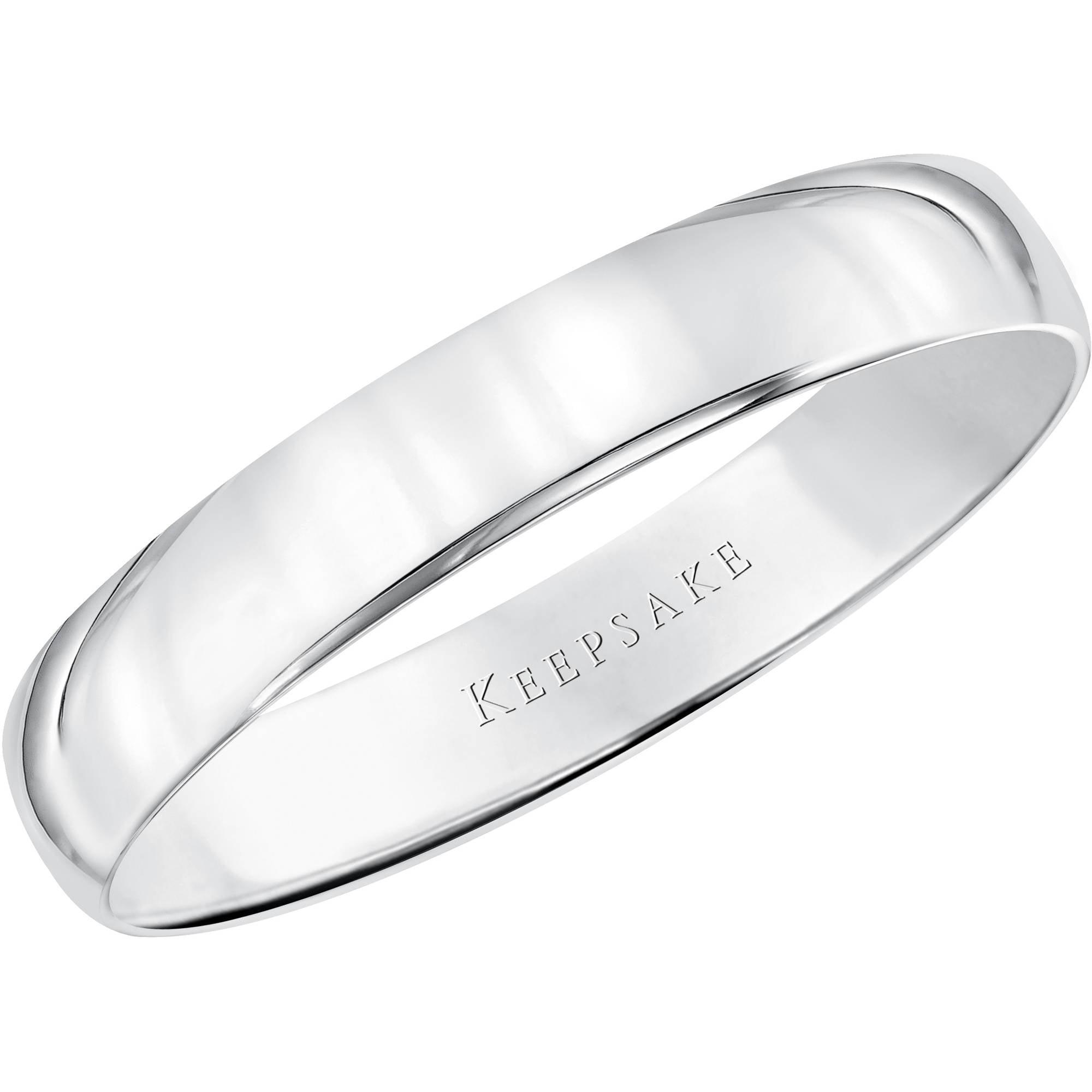 Keepsake 10kt White Gold Comfort Fit Wedding Band 4mm