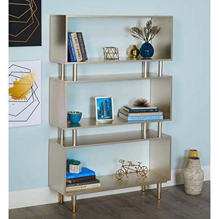 ModHaus Living Mid Century Modern Bookshelf with 3 Shelves and Solid Wood Legs - Includes Pen (Champagne