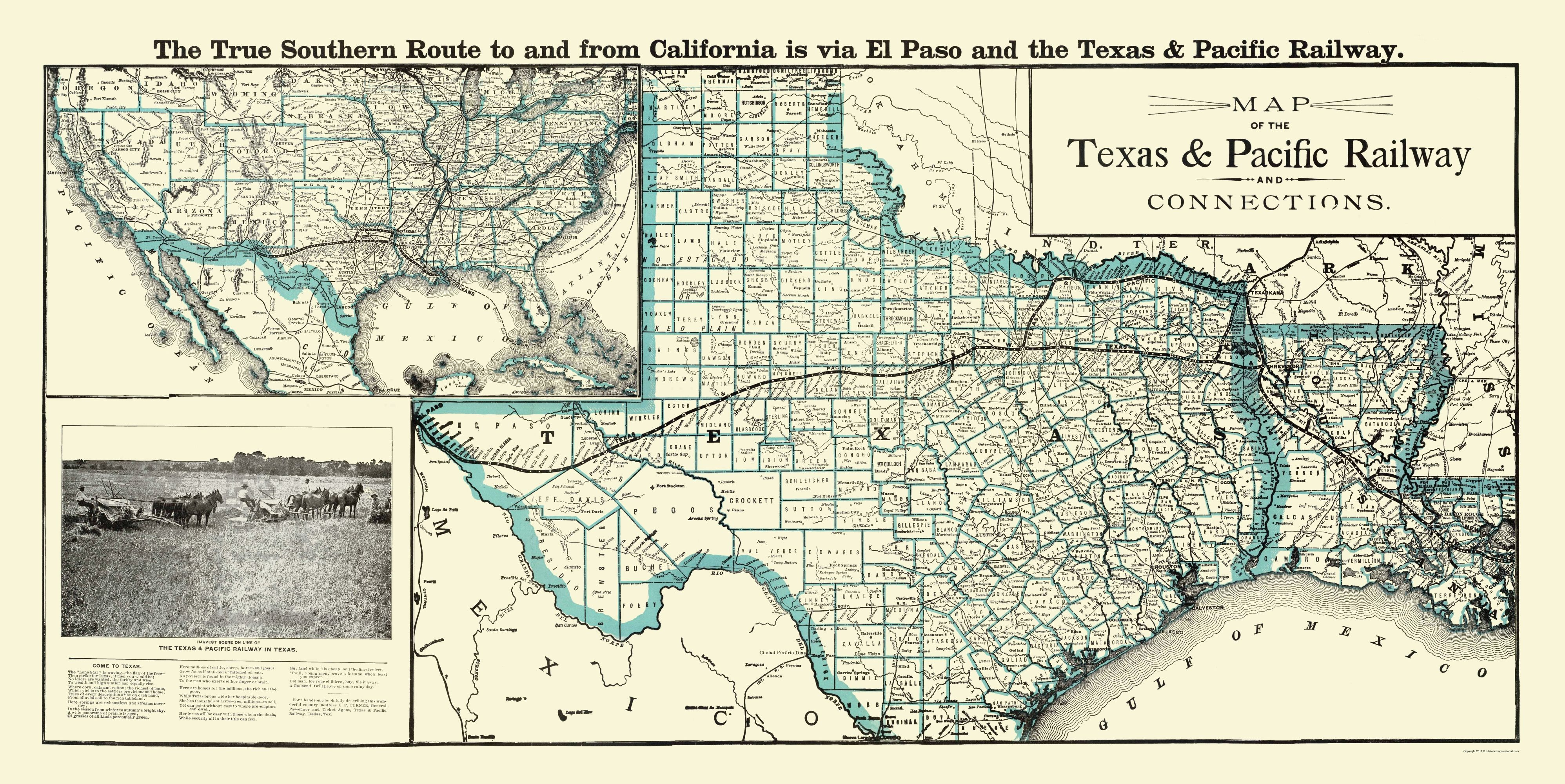 Map Of Texas Railroads.Old Railroad Map Texas And Pacific Railway With Connections 1903 23 X 45