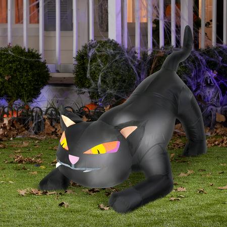 Black Cat Outdoor Airblown Halloween Decoration