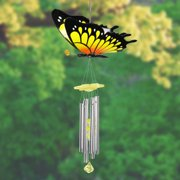 Exhart Large WindyWings Butterfly Wind Chime in Yellow, 11 by 24 inches, Plastic