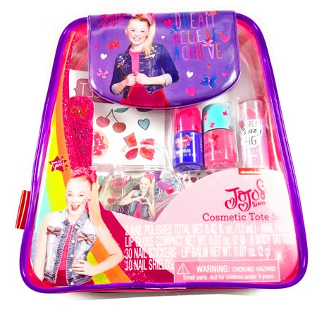 JoJo Siwa Girls Cosmetic Tote Bag Set Nail Polish Lip Gloss Body Tattoos for $<!---->