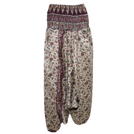 83534d765a83 Mogul Interior - Mogul Women s Vintage Harem Pant Pink Beige Silk ...