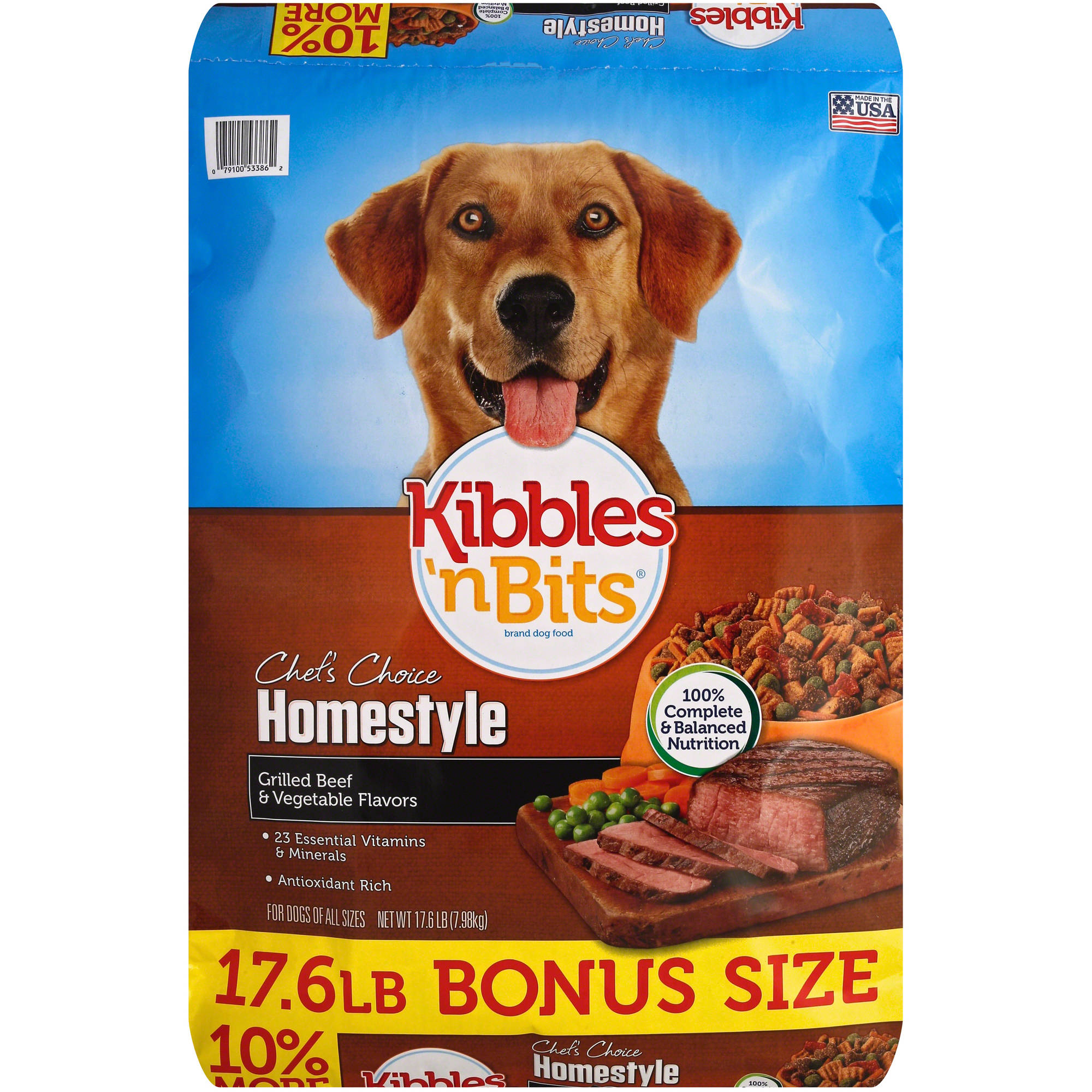 Kibbles 'n Bits Homestyle Grilled Beef and Vegetable Flavors Dry Dog Food, 17.6-lb Bag