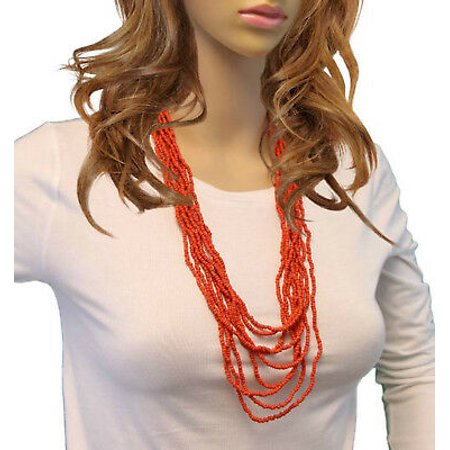 Red Glass Beaded Multilayer Collar Necklace Long 28