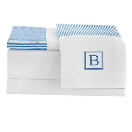 Linum Home Pamuk Luxury Monogrammed Blue Stripe 300 Thread Count 100-percent Turkish Cotton 4-piece Sheet -